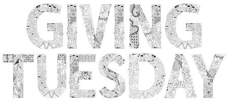 Words with Giving Tuesday. Vector decorative object for coloring Vettoriali