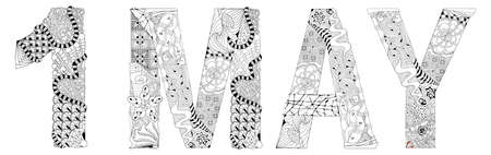 Word 1 MAY. Vector decorative object for coloring Vettoriali