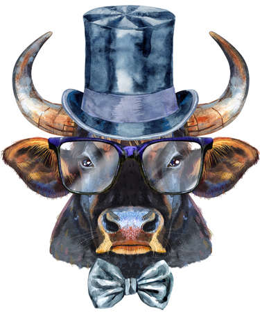 Watercolor illustration of black powerful bull in top hat and glasses