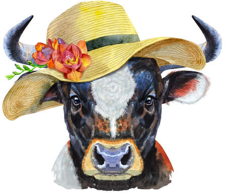 Watercolor illustration of black powerful bull in summer hat