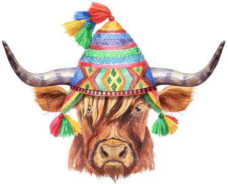 Watercolor illustration of a brown long-horned bull in chullo hat Archivio Fotografico