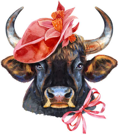 Watercolor illustration of black powerful bull in red hat and bow