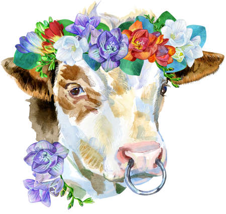 Watercolor illustration of a white bull bull in a wreath of freesias