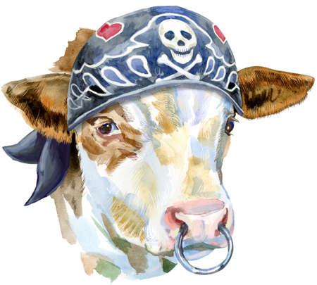 Watercolor illustration of a white bull in biker bandana