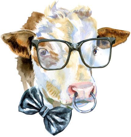 Watercolor illustration of a white bull in glasses and bow tie