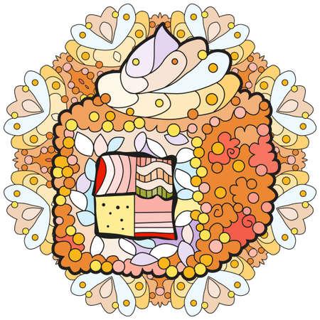 Sushi with mandala. Hand drawn decorative vector illustration