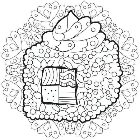 Sushi with mandala. Hand drawn decorative vector illustration for coloring