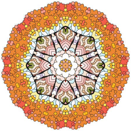 Colorful cute Mandalas. Decorative unusual round ornaments. Vettoriali