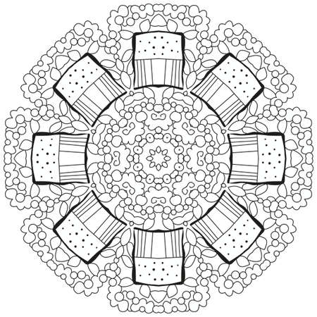 Colorful cute Mandalas. Decorative unusual round ornaments for coloring.