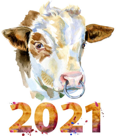 Bull with number 2021 watercolor graphics. Bull animal illustration watercolor textured background.
