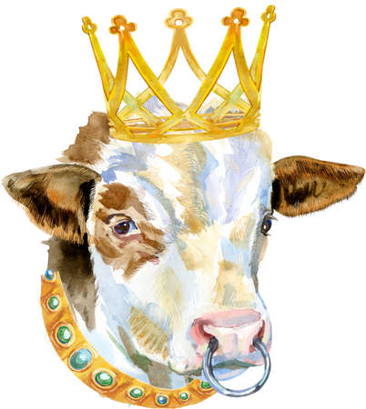 Bull with gold crown. Watercolor graphics. Bull animal illustration watercolor textured background.