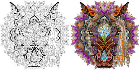 Head of horse styled with mandala for t-shirt design, for tattoo and other decorations. Color and outline set Ilustración de vector