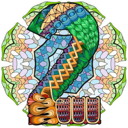 Hand-painted art design. Illustration mandala with numero two