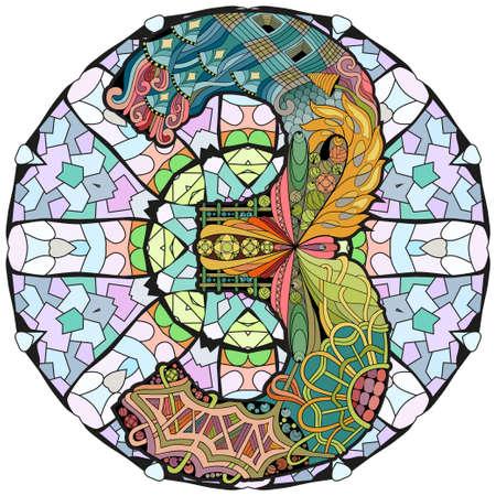 Hand-painted art design. Illustration mandala with numero three Vettoriali