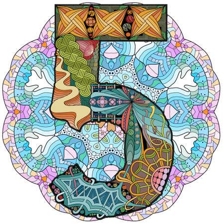 Hand-painted art design. Illustration mandala with numero five