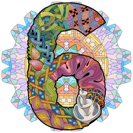 Hand-painted art design. Illustration mandala with numero six