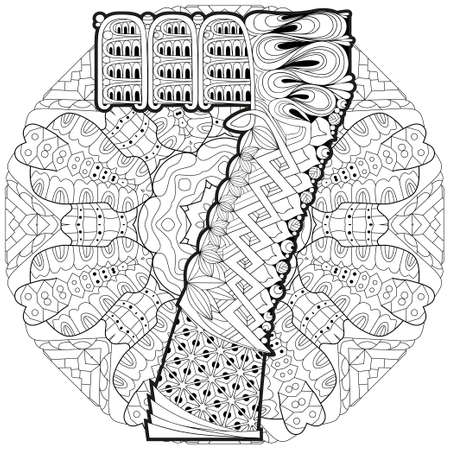 Hand-painted art design. Adult anti-stress coloring page. Black and white hand drawn illustration mandala with numero seven for coloring book