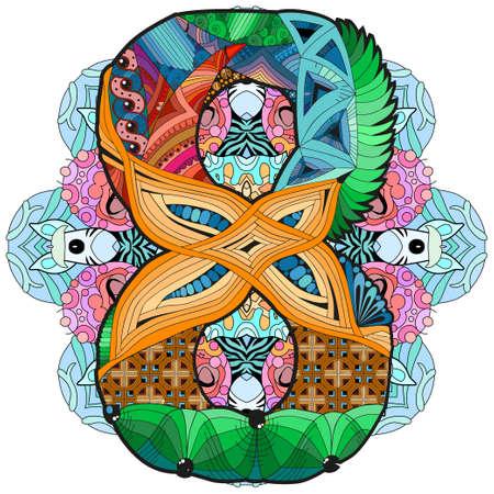 Hand-painted art design. Illustration mandala with numero eight