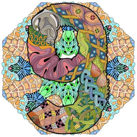 Hand-painted art design. Illustration mandala with numero nine Vettoriali