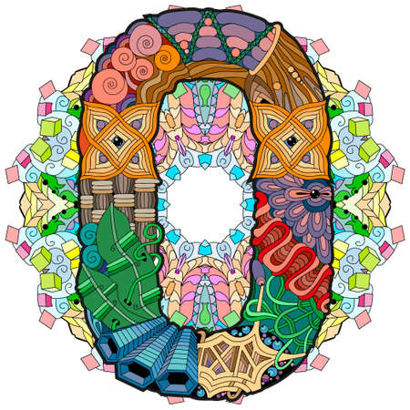 Hand-painted art design. Illustration mandala with numero zero