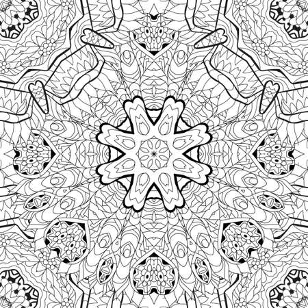 Vector adult coloring book seamless textures. Hand-painted art design. Adult anti-stress coloring page. Black and white hand drawn pattern for coloring book.
