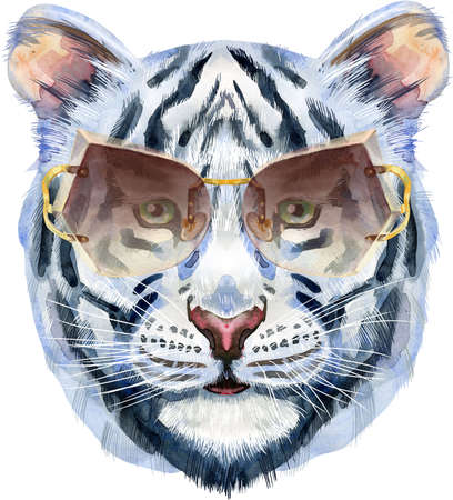 Colorful white tiger in sunglasses. Wild animal watercolor illustration on white background