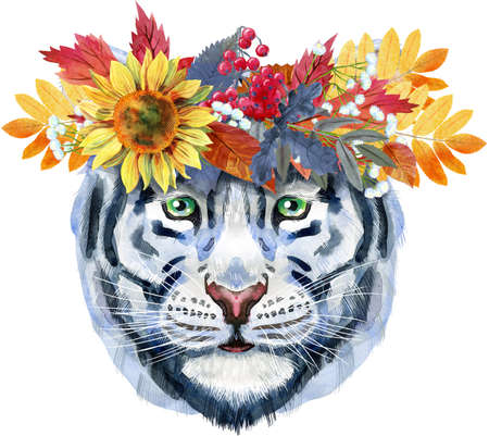 Watercolor illustration of white smiling tiger