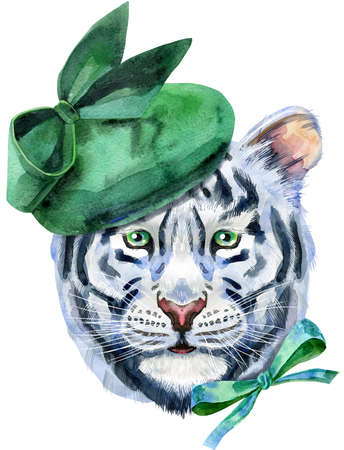 Watercolor illustration of white tiger in green elegant hat and bow on the side