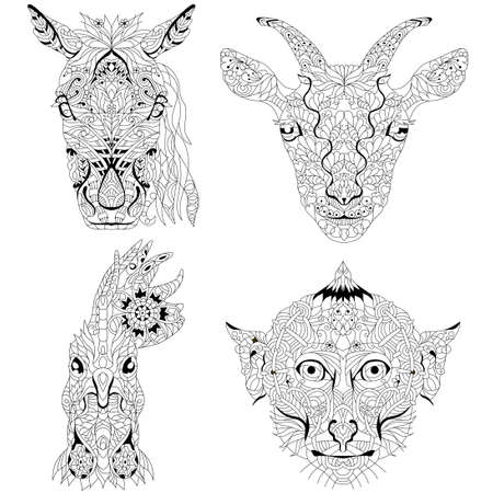 Head of horse, goat, rooster and monkey heads. styled for t-shirt design, for tattoo and other decorations 矢量图像