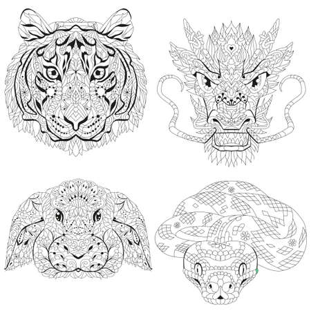 Head of tiger, dragon, rabbit and snake heads. styled for t-shirt design, tattoo and other decorations