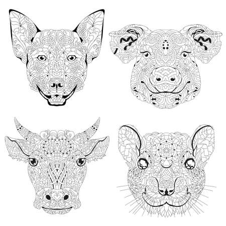 Heads dog, dog, pig, bull and rat styled for t-shirt design, tattoo and other decorations 矢量图像