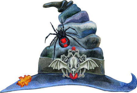 Watercolor magic witch hat with spider. High quality illustration for magic decorations and celebrating Halloween