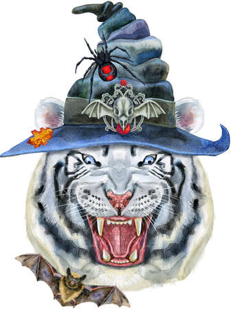 White aggressive tiger in witch hat with open mouth and huge fangs