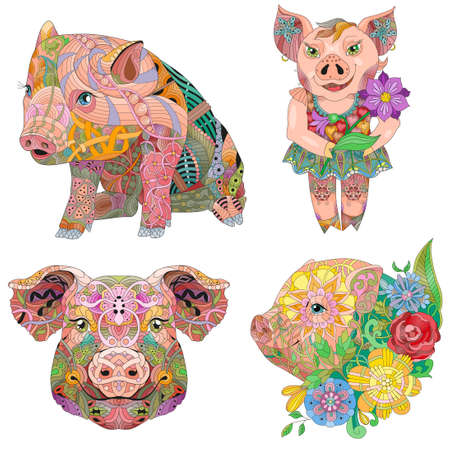 illustration with pigs.or doodle piglet Domestic animal. 矢量图像