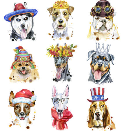 Cute set of watercolor portraits of dogs. For t-shirt graphics. Watercolor dogs illustration