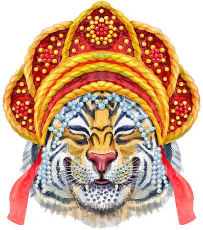 Watercolor illustration of orange smiling tiger in Russian national headdress kokoshnik. Wild animal watercolor illustration on white background