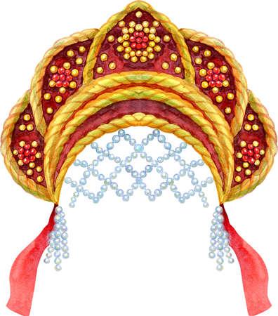 Watercolor Illustration Russian national headdress kokoshnik with gold ornament and beads on white background 免版税图像