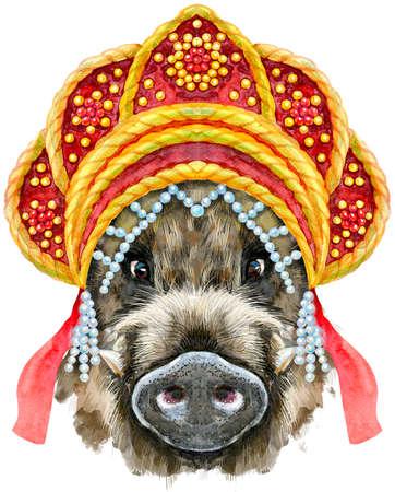 Cute piggy in Russian national headdress kokoshnik. Wild boar for T-shirt graphics. Watercolor brown boar illustration 免版税图像