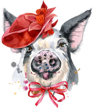 Watercolor portrait of pig in red hat 免版税图像