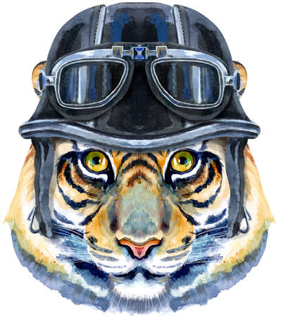 Tiger horoscope character watercolor illustration with biker helmet isolated on white background. 免版税图像