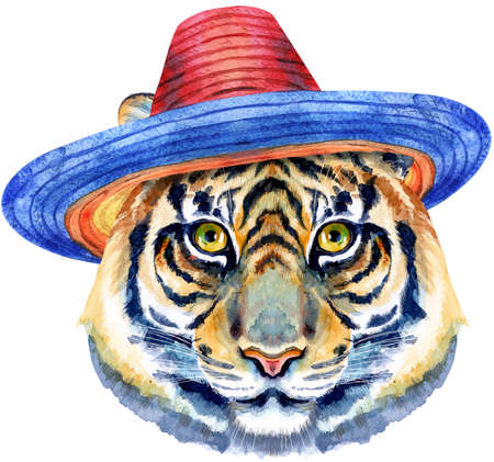 Tiger horoscope character watercolor illustration in sombrero hat isolated on white background.