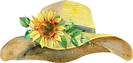 Watercolor womens yellow summer hat with sunflower