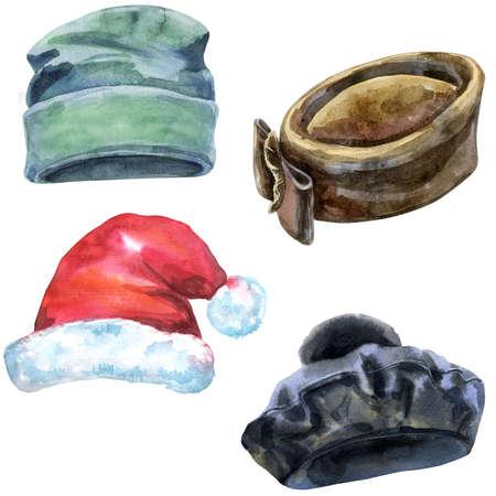 Set of watercolor illustrations of hats 免版税图像