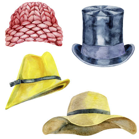 Set of watercolor illustrations of hats on white background 免版税图像