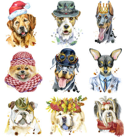 Set of watercolor portraits of dogs for decoration