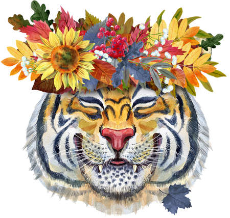 Colorful orange smiling tiger in a wreath of autumn leaves. Wild animal watercolor illustration on white background 免版税图像