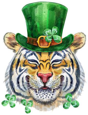 Colorful orange smiling tiger wearing a green leprechaun hat. Wild animal watercolor illustration on white background 免版税图像