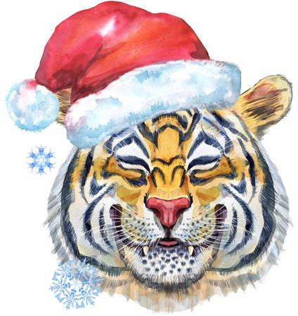 Colorful orange smiling tiger in Santa hat. Wild animal watercolor illustration on white background
