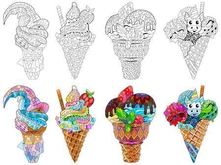 Set of Ice cream. Floral, ornate, decorative, sweet dessert composition Color and outline set