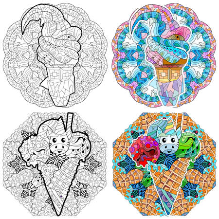 Floral, ornate, decorative, sweet dessert composition. Black and white background. Zentagle coloring book page. Ice cream with mandala.